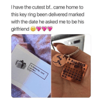 Memes, Date, and Home: I have the cutest bf..came home to  this key ring been delivered marked  with the date he asked me to be his  girlfriend  31 @glittery_co is having a HUGE 60% sale on their website! Everything is 60% off TODAY only! 😱 Act fast! Limited quantities! Shop link in the bio of @glittery_co ! ❗️