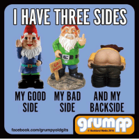 I HAVE THREE SIDES  MY GOOD MY BAD AND MY  SIDE SIDE BACK SIDE  facebook.com/grumpyoldgits  Backland Media 2016 I have three sides!