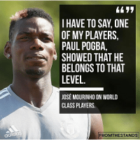 Adidas, Football, and Goals: I HAVE TO SAY, ONE  OF MY PLAYERS,  PAUL POGBA,  SHOWED THAT HE  BELONGS TO THAT  LEVEL  JOSE MOURINHO ON WORLD  CLASS PLAYERS.  adidaS  FROMTHESTANDS Paul did have an incredible Preseason! Do you agree?! ❤️🔥👹 . . . . . . manutd mufc manchesterunited degea united neymar footy football soccer rooney sfs s4s like selfie followback followme followforfollow likeforlike goals zlatan pogba mata cr7 nike adidas messi ibrahimovic Ronaldo lol