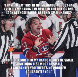 "National Hockey League (NHL), Never, and Something Else: ""I HAVE TO SAY THIS, HE HIT MY HANDS. NOBODY HAS  EVER HIT MY HANDS. I'VE NEVER HEARD OF THIS ONE.  LOOK AT THOSE HANDS ARE THEY SMALL HANDS?  13  AND HE REFERRED TO MY HANDS IF THEY'RE SMALL,  SOMETHING ELSE MUST BE SMALL,  IGUARANTEE YOU THERE'S NO PROBLEM.  IGUARANTEE YOU."" Fantastic hands. Just terrific!"