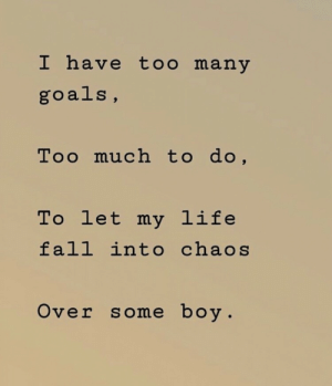 Fall Into: I have too many  goals,  Too much to do,  To let my life  fall into chaos  Over some boy.