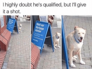 Doubt, Shot, and Hes: I highly doubt he's qualified, but I'll give  it a shot.  Meet our  ortgage  Advise
