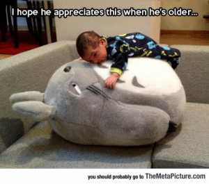 lolzandtrollz:  Every Child Needs A Giant Totoro Stuffed Animal: I hope he appreciates this when he's older..  you should probably go to TheMetaPicture.com lolzandtrollz:  Every Child Needs A Giant Totoro Stuffed Animal