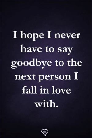 Fall, Love, and Memes: I hope I never  have to sav  goodbye to the  next person I  fall in love  with.