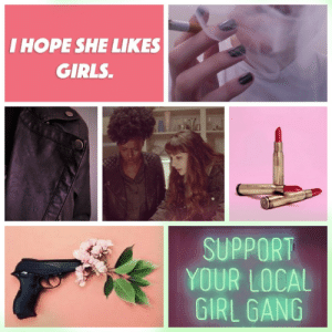 farahs-girlfriend:  Some Faranda aesthetic, kind of honoring the new consensus about the ship name. It kinda ended up looking a bit bi-flag-ish but I honestly think that's just what my subconscious is like.: I HOPE SHE LIKES  GIRLS  SUPPORT  YOUR LOCAL  GIRL GANG farahs-girlfriend:  Some Faranda aesthetic, kind of honoring the new consensus about the ship name. It kinda ended up looking a bit bi-flag-ish but I honestly think that's just what my subconscious is like.