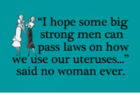 "womanizer: ""I hope some big  strong men can  pass laws on how  we use our uteruses...""  said no woman ever."