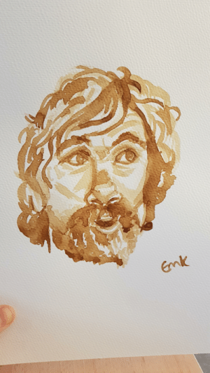 I hope this is OK to post, a painting I did of Peter Dinklage in coffee: I hope this is OK to post, a painting I did of Peter Dinklage in coffee