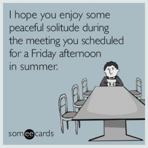 Advice, Friday, and Tumblr: I hope you enjoy some  peaceful solitude during  the meeting you scheduled  for a Friday afternoon  in summer  someecards  ее advice-animal:  Out of office