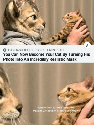 cursed_office: i  ICANHASCHEEZBURGER? 1 MIN READ  You Can Now Become Your Cat By Turning His  Photo Into An Incredibly Realistic Mask  Identity theft is not a joke, Jim.  Millions of families suffer every year. cursed_office
