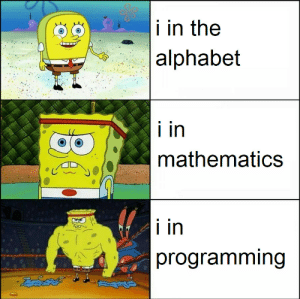 int i: i in the  |alphabet  i in  mathematics  i in  programming int i