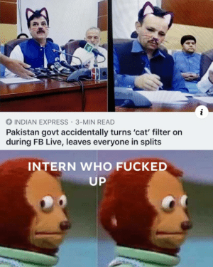 This is perfect: i  INDIAN EXPRESS 3-MIN READ  Pakistan govt accidentally turns 'cat' filter on  during FB Live, leaves everyone in splits  INTERN WHO FUCKED  UP This is perfect