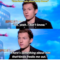 """Tom is such a sweetheart ☺️ tomholland spiderman buckybarnes: i  interviewer asks about Bucky Borm  es  es  RA  """"Uh, yeah. I don't know.""""  """"There's something about him  that'kinda freaks me out."""" Tom is such a sweetheart ☺️ tomholland spiderman buckybarnes"""
