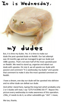 """A Dream, Dude, and Fucking: I+ is Wednesday  my dudes  But, it is time my dudes. Yes. It is time to make our  dude the post upvoted dude on Reddit. Our last attempt  was 10 months ago and we managed to get our dude just  108k upvotes. That's not even half of the most upvoted post  on Reddit. We need to stand up, organize and attack our  dude with upvotes. On July 4, we all upvote our dude with  passion and comment """"It is wednesday my dudes"""" and upvote  that comment to make it also the most upvoted comment on  Reddit  I have a dream, one day our dude will be upvoted into oblivion  and no other dude can defeat our dude  And while I stand here, typing this long text which probably only  2 or 3 dudes will read, I say """"LETS FUCKING DO IT"""". Repost thi:s  picture every wednesday to make awareness of this operation  r/Me_irl needs to do it, so other subreddits go: """"shit"""". I mean,  Me too, thanks."""
