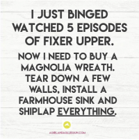 Memes, Bing, and Covers: I JUST BINGED  WATCHED 5 EPISODES  OF FIXER UPPER.  NOW I NEED TO BUY A  MAGNOLIA WREATH.  TEAR DOWN A FEW  WALLS, INSTALL A  FARMHOUSE SINK AND  SHIPLAP EVERYTHING  AGIRLANDAGLUEGUN.COM This is so me! Get me the shiplap! Cover it all in shiplap!
