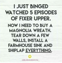 Memes, Bing, and 🤖: I JUST BINGED  WATCHED 5 EPISODES  OF FIXER UPPER.  NOW I NEED TO BUY A  MAGNOLIA WREATH.  TEAR DOWN A FEW  WALLS, INSTALL A  FARMHOUSE SINK AND  SHIPLAP EVERYTHING  AGIRLANDAGLUEGUN.COM Anyone else a fan of the Gaines'?! #katrinamhm