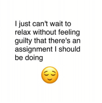 Memes, 🤖, and Assignment: I just can't wait to  relax without feelinjg  guilty that there's ain  assignment I should  be doing 🤗