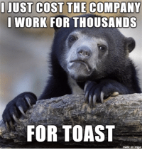 I cost my company thousands!: I JUST COST THE COMPANY  I WORK FOR THOUSANDS  FOR TOAST  made on inngur I cost my company thousands!