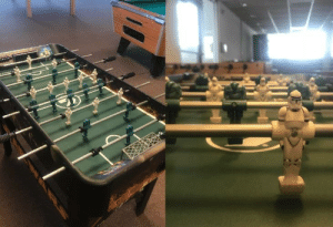 Today, Table, and Foosball: I just found the coolest foosball table ever in my dorm building today
