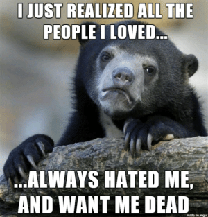 ….: I JUST REALIZED ALL THE  PEOPLE I LOVED..  ALWAYS HATED ME,  AND WANT ME DEAD  made on imgur ….