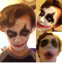 I just thought it was so cool to look back at the first time I did the (Heath Ledger) Joker makeup and to see how I've gotten better at applying it. Let me know what you think. My one friend actually said I kinda look like Heath Ledger, I was very flattered but I don't think so, again let me know what you think haha. BTW the last photos I couldn't help myself, I had to mess with the filters I think it came out nicely. joker jokermakeup jokercosplay heathledgerjoker: I just thought it was so cool to look back at the first time I did the (Heath Ledger) Joker makeup and to see how I've gotten better at applying it. Let me know what you think. My one friend actually said I kinda look like Heath Ledger, I was very flattered but I don't think so, again let me know what you think haha. BTW the last photos I couldn't help myself, I had to mess with the filters I think it came out nicely. joker jokermakeup jokercosplay heathledgerjoker