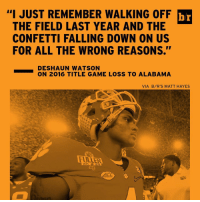 "For Clemson to beat Bama, Deshaun Watson may need to have a Vince Young-esque performance...and last year's title game loss may bring out the best in the Tigers QB [Link in bio]: ""I JUST WALKING OFF br  THE FIELD LAST YEAR AND THE  CONFETTI FALLING DOWN ON US  FOR ALL THE WRONG REASONS.""  DESHAUN WATSON  ON 2016 TITLE GAME LOSS TO ALABAMA  VIA B/R'S MATT HAYES For Clemson to beat Bama, Deshaun Watson may need to have a Vince Young-esque performance...and last year's title game loss may bring out the best in the Tigers QB [Link in bio]"