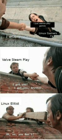 valve steam: I just wanna play  games  Linux Gamers  Whimperin  Valve Steam Play  I got you!  I got you, brother  Linux Elitist  Oh, no, you don't