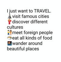 Beautiful, Food, and Memes: I just want to TRAVEL.  visit famous cities  discover different  cultures  meet foreign people  eat all kinds of food  wander around  beautiful places 😍