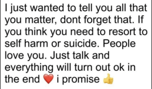 Love, Suicide, and All That: I just wanted to tell you all that  you matter, dont forget that. If  you think you need to resort to  self harm or suicide. People  love you. Just talk and  everything will turn out ok in  the end  i promise Please love yourself ❤️