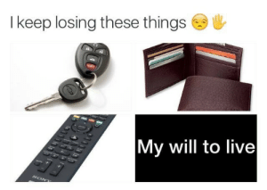 Live, Will, and Losing: I keep losing these things  My will to live  So