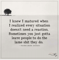 I knew I matured when  I realized every situation  doesn't need a reaction.  Sometimes you just gotta  leave people to do the  lame shit they do.  Via (The M in d s Journal) I knew I matured
