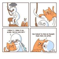 I KNEW IT. I KNEW IT ALL  ALONG. YOU DO LOVE ME!!!  YOU FORGOT TO FEED ME PEASANT.  FOOD FIRST, DIE AFTER.  accord ingtodevin.com @web.comics are my fave