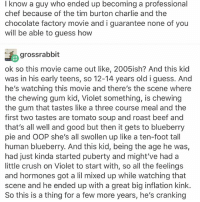 Beef, Beef, and Charlie: I know a guy who ended up becoming a professional  chef because of the tim burton charlie and the  chocolate factory movie and i guarantee none of you  will be able to guess how  gross rabbit  ok so this movie came out like, 2005ish? And this kid  was in his early teens, so 12-14 years old i guess. And  he's watching this movie and there's the scene where  the chewing gum kid, Violet something, is chewing  the gum that tastes like a three course meal and the  first two tastes are tomato soup and roast beef and  that's all well and good but then it gets to blueberry  pie and OOP she's all swollen up like a ten-foot tall  human blueberry. And this kid, being the age he was  had just kinda started puberty and might've had a  little crush on Violet to start with, so all the feelings  and hormones got a lil mixed up while watching that  scene and he ended up with a great big inflation kink.  So this is a thing for a few more years, he's cranking i edited the last picture so you could see where the rest of the thing is so you didn't have to read a whole thing again just for the last couple of lines