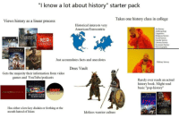 "College, Facts, and Low Key: ""I know a lot about history"" starter pack  Takes one history class in college  Views history as a linear process  Historical interests very  American/Eurocentric  Art history  Anthropology  Religious history  Social history  Gender history  Literary history  Economic history  Historiography  RUSADER  KTNGS  THUNDER  EUROPA  UNIVE RSAİ  Just accumulates facts and anecdotes  Military history  Deus Vault  Gets the majority their information from video  games and YouTube/podcasts  Rarely ever reads an actual  history book. Might read  basic ""pop-history""  DAN CARLIN'S  HISTORIA CIVIHI  HARDCORE  HISTORY  DAVID  MCCULLOUGH  THE  SEA WOLV  AHISTORY  OF THE VIKINGS  Has either a low-key disdain or frothing at the  mouth hatred of Islam  Idolizes warrior culture"