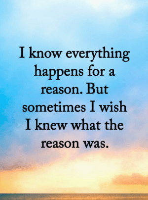 <3: I know everything  happens for a  reason. But  sometimes I wish  I knew what the  reason was. <3