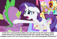 """Rarity finally falls in Love with someone other than Herself.: """"I know he's a male prostitute Spike, but I love him! He has the most incredible  tushie when he's in a thong! Granted, Ponies don't usually wear thongs, but he  manages to pull it off! I can't stop looking at it, even with those ghastly rhinestones!"""" Rarity finally falls in Love with someone other than Herself."""