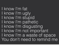 You don't have to remind me ~Brittney: I know I'm fat  I know I'm ugly  I know I'm stupid  I know I'm pathetic  know I'm disgusting  know I'm not important  know I'm a waste of space  You don't need to remind me You don't have to remind me ~Brittney