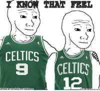 Fac, Meme, and Nba: I KNOW THAT FEEL  CELTICS  CELTICS  12  Brought By Fac  com/NBAMenneg  ebook Poor Celtics Nation! Credit: Ayman Quadir & Rohan Mudgal   http://whatdoumeme.com/meme/6kiact