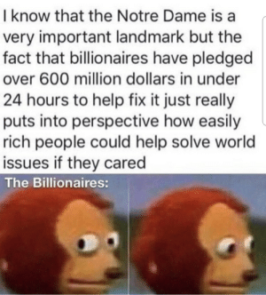 Help, Notre Dame, and World: I know that the Notre Dame is a  very important landmark but the  fact that billionaires have pledged  over 600 million dollars in under  24 hours to help fix it just really  puts into perspective how easily  rich people could help solve world  issues if they cared  The Billionaires: Damn billionaires