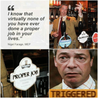I know that  virtually none of  you have ever  done a proper  job in your  lives.  33  Nigel Farage, MEP  PROPER JOB  Malts  PROPER KOB  ONDR  TRIGGERED