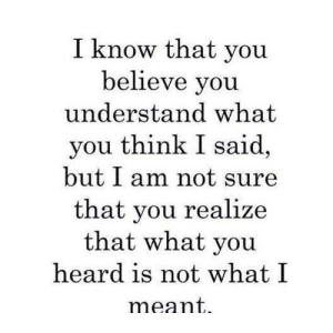 Net, Believe, and Think: I know that you  believe you  understand what  you think I said,  but I am not sure  that you realize  that what you  heard is not what I  meant. https://iglovequotes.net/