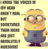 Head, Memes, and The Voice: I KNOW THE VOICES IN  MY HEAD  ARENT REAL  BUT  SOMETIMES  THEIR IDEAS  ARE JUST  ABSOLUTELY  AWESOME!