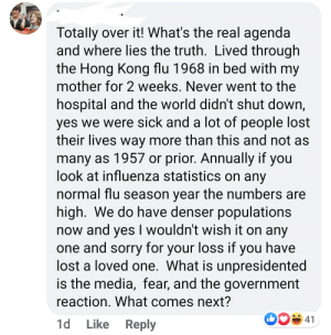 I know we have denser populations, and people are dieing, but I lived through the Hong Kong Flu!: I know we have denser populations, and people are dieing, but I lived through the Hong Kong Flu!