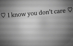 you dont care: I know you don't care
