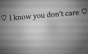 you dont care: I know you don't care V