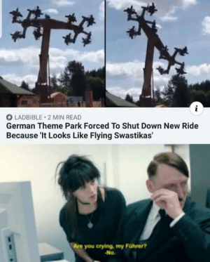 He's probably gonna kill himself: i  LADBIBLE 2 MIN READ  German Theme Park Forced To Shut Down New Ride  Because 'It Looks Like Flying Swastikas'  Are you crying, my Führer?  No. He's probably gonna kill himself