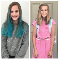 "Dank, Friends, and School: I let my daughter dye her hair blue in March, and then offered to let her keep it that way.  She decided to go back to her natural color this year, and chop 4 inches off to get back to her ""roots.""  Nothing really changed about my daughter after I let her dye her hair. She still worked hard in school, played on her soccer team, and wanted to hang out with her friends, like any tween likes to do.  But something changed between us. It was a subtle shift, but one that had big impact.  She seemed to be a little more appreciative when I let her do things, and she started helping out around the house a bit more. We seemed to enjoy each other more and the tension lessened.  I am still learning how to do this parenting big kids program, but one thing I know for certain is that tweens and teens need some sort of control over their lives, a chance to become who they are supposed to be through trial and error.  For my daughter, that was sporting blue hair for about six months, and then deciding, on her own, that she wanted something else.  This letting go part of parenting, well it's just so hard.  But the payoff— when you and your big kid find the sweet spot, the compromise zone, the place where you can grow together—well, that is pretty awesome too.  And don't tell her, but I almost miss that blue hair.  (via Playdates on Fridays by Whitney Fleming)"