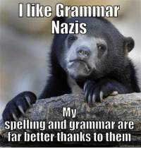 In the last two years on imgur my spelling and grammar have radically improved.: I like Grammar  Nazis  My  Snelling and grammar are  far better thanks to them  quickmeme com In the last two years on imgur my spelling and grammar have radically improved.