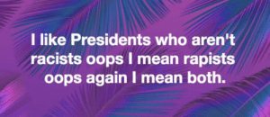 Taunt The Elephant: I like Presidents who aren't  racists oops I mean rapists  oops again I mean both. Taunt The Elephant