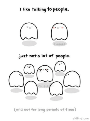 Introvert, Tumblr, and Blog: I like talking to people.  CHIBIRD  just not a lot of people.  CHIBIR  Cand not for long periods of time)  chibird.com introvertunites:  If you're an introvert, follow us @introvertunites