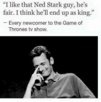 """the game of thrones: """"I like that Ned Stark guy, he's  fair. I think he'll end up as king  Every newcomer to the Game of  Thrones tv show."""